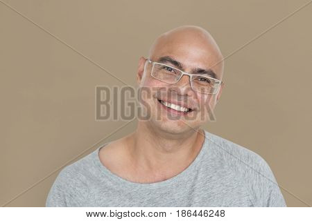 Asian Man Cheerful Studio Concept