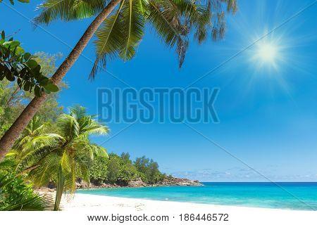 Sunrise at Caribbean beach. Vacation holidays background wallpaper