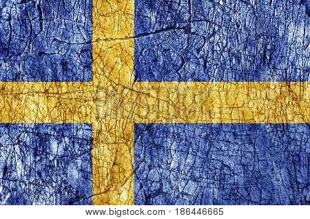 Grudge stone painted Sweden flag close up
