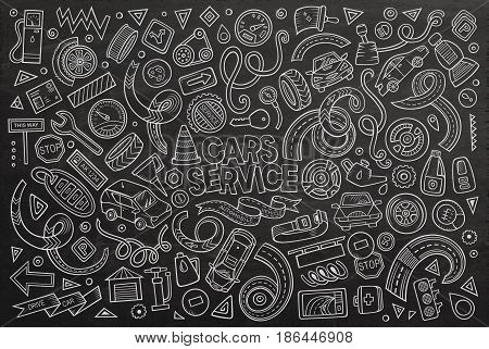 Vector line art chalkboard hand drawn doodle cartoon set of Automobile objects and symbols