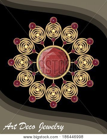 Golden antiquarian jewel in art deco style, filigree gold brooch with red gems ruby or garnet, fashion in victorian style, antique gold jewelry, vector EPS 10