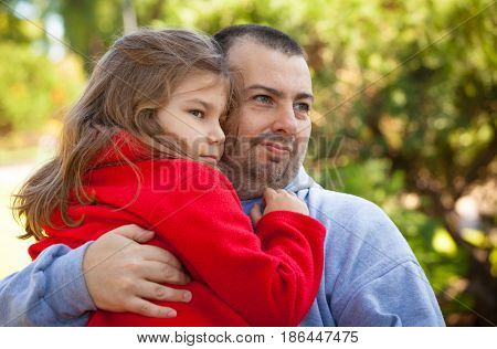 happy father and daughter in summer