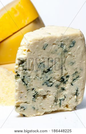 wedge of full fat soft blue cheese