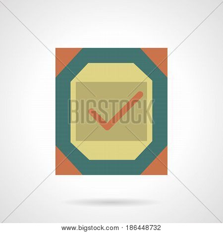 Abstract symbol of board with checkmark. Quality control of metal products. Flat color style vector icon.