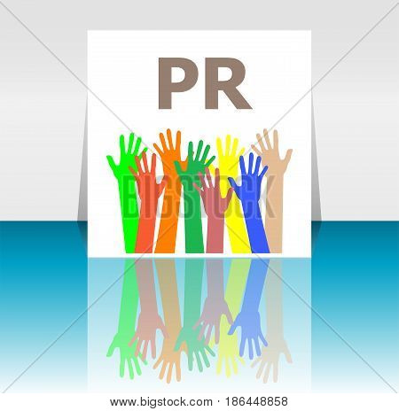 Text Pr. Public Relations. Advertising Concept . Human Hands Silhouettes
