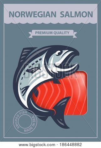 vector design template packing of smoked salmon