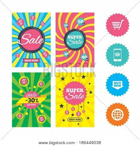 Web banners and sale posters. Online shopping icons. Smartphone, shopping cart, buy now arrow and internet signs. WWW globe symbol. Special offer and discount tags. Vector