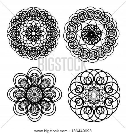 Circle lace patterns, design elements in black outline design, gorgeous symmetric geometric spirograph shapes, vector EPS 10