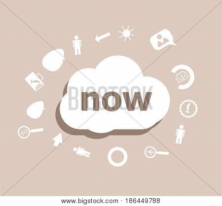 Text Now. Time Concept . Icons Set For Cloud Computing For Web And App