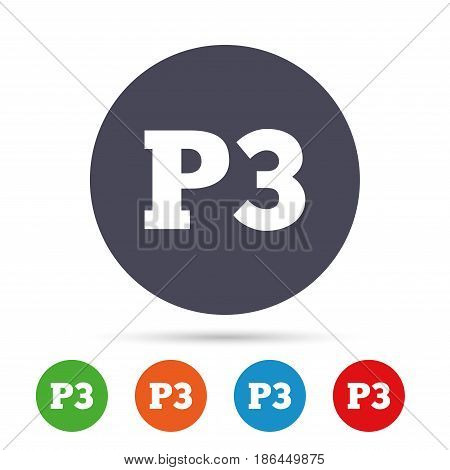 Parking third floor sign icon. Car parking P3 symbol. Round colourful buttons with flat icons. Vector