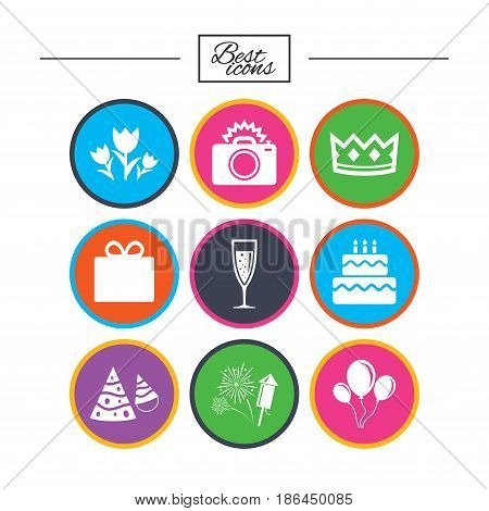 Party celebration, birthday icons. Fireworks, air balloon and champagne glass signs. Gift box, flowers and photo camera symbols. Classic simple flat icons. Vector