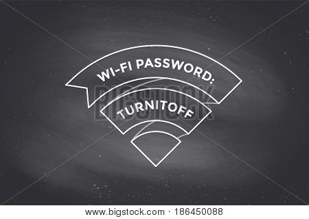 Vintage ribbon Wi-Fi sign for free wi-fi in cafe or restaurant, menu and design. Icon Wi-Fi in line style on black chalkboard background. Design element for internet theme. Vector Illustration
