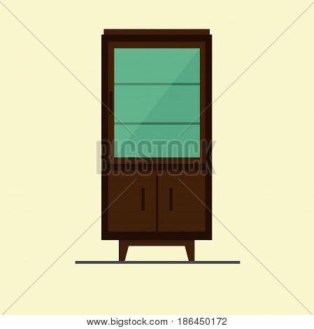 bookcase vintage furniture icon design vector illustration