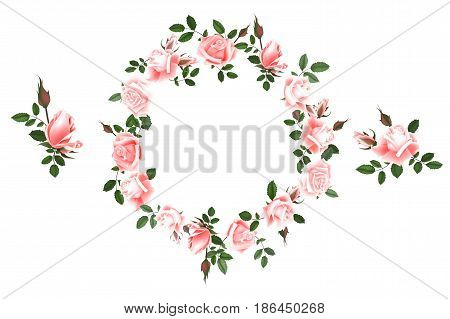 Vector round frame of roses. Illustration wreath of flowers. Can be used as a greeting card for background of Valentine's day, birthday, mother's day and so on. Wedding invitation