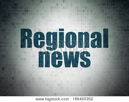 News concept: Painted blue word Regional News on Digital Data Paper background