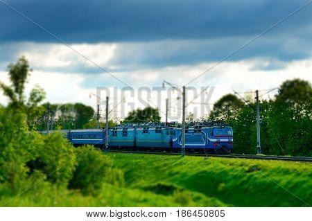 Electric Train Moves. Tilt Shift.