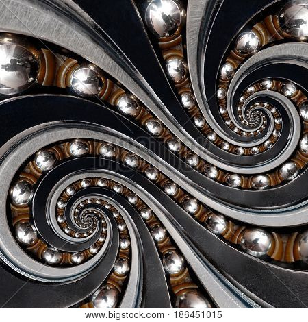 Funny incredible beautiful unusual Industrial Ball Bearing double twin spiral effect. Abstract incredible industrial bearing texture fractal background. Abstract texture fractal background ornament