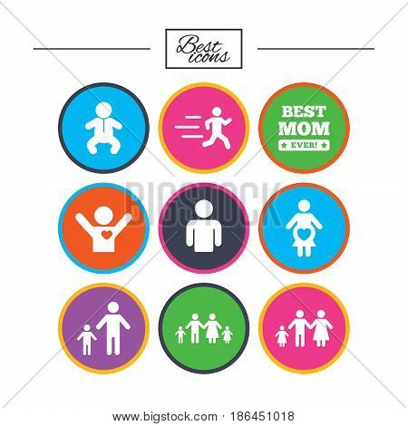 People, family icons. Maternity, person and baby signs. Best mom, father and mother symbols. Classic simple flat icons. Vector