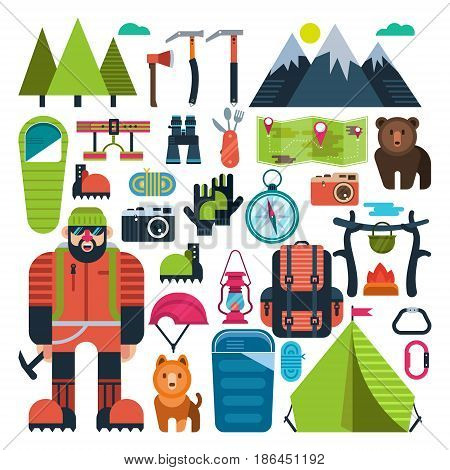 Set of flat vector icons on the theme of rock climbing, mountain Hiking, climbing. Extreme sports. Camping. Adventures in the mountains.