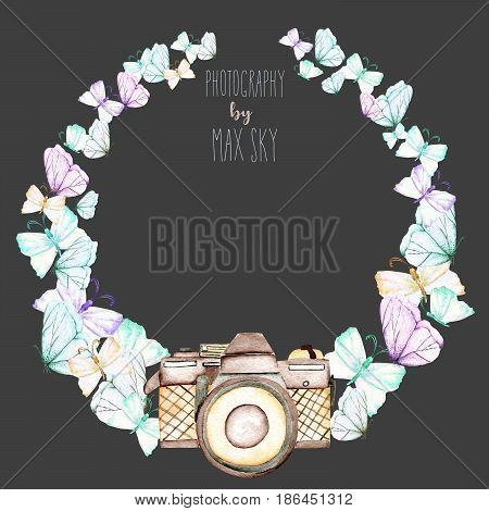 Circle frame, wreath with watercolor tender butterflies and camera, hand drawn on a dark background,  invitation, greeting card, wedding, logo design