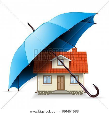 House under an Umbrella, Illustration Icon