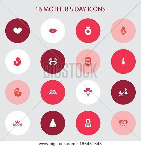 Mothers Day Icon Design Concept. Set Of 16 Such Elements As Baby, Cellphone And Queen. Beautiful Symbols For Infant, Heart And Soul.