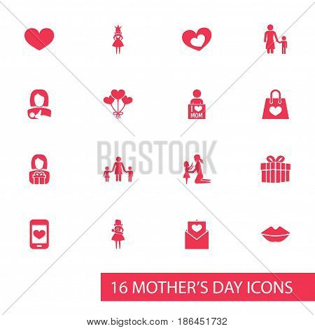 Mothers Day Icon Design Concept. Set Of 16 Such Elements As Daughter, Decoration And Protect. Beautiful Symbols For I, Smartphone And Decoration.
