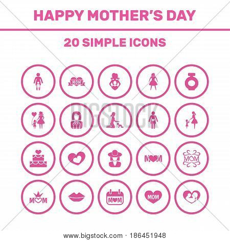 Mothers Day Icon Design Concept. Set Of 20 Such Elements As Mom, Mam And Infant. Beautiful Symbols For Daughter, Pregnancy And Balloon.