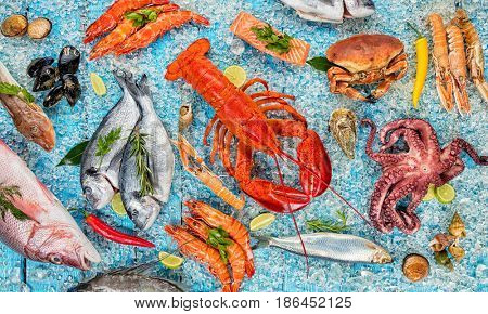 Whole lobster with seafood, crab, mussels, prawns, fish, salmon steak, octopus, oyster and other shells served on crushed ice and wooden table