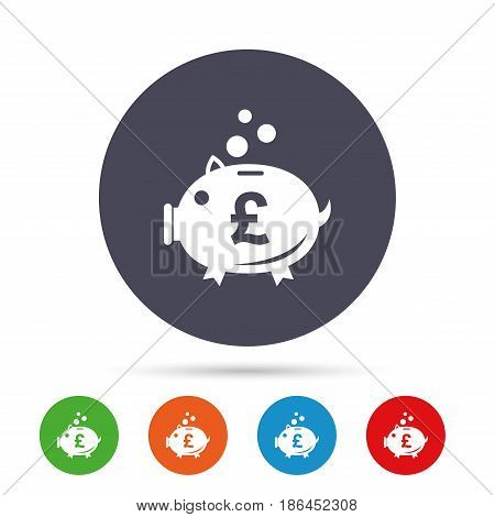Piggy bank sign icon. Moneybox pound symbol. Round colourful buttons with flat icons. Vector