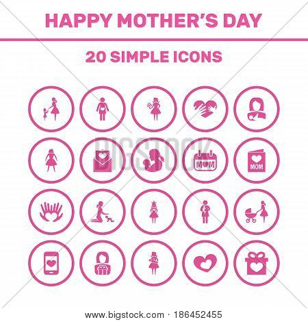 Mothers Day Icon Design Concept. Set Of 20 Such Elements As Lady, Newborn Baby And Mother. Beautiful Symbols For Daughter, Lady And Present.