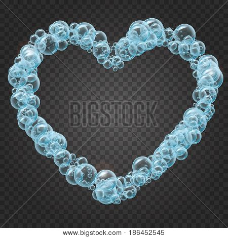 Shampoo bubbles heart shape on transparent background. Cleaning liquid soap foam, shampoo bubbles in bath or shower. For greeting card, banner, flyer, invitation. Swimming pool, aqua park, diving.