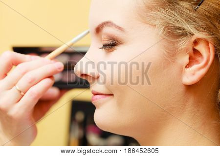 Visage concept. Close up woman getting make up on eyebrows. Applying eyeshadow on eyebrow with brush. Eyes closed.