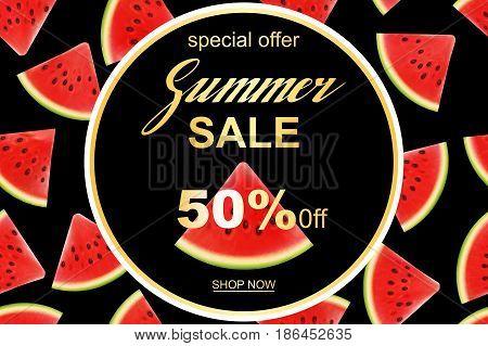 Summer sale banner design template. Seasonal discount advertisement with fresh watermelon pieces. Vector illustration