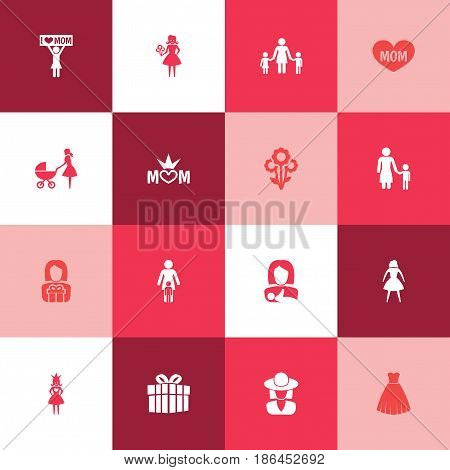 Mothers Day Icon Design Concept. Set Of 16 Such Elements As Mom, Relations And People. Beautiful Symbols For I, Plant And Kid.