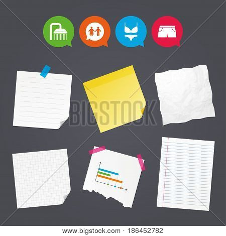 Business paper banners with notes. Swimming pool icons. Shower water drops and swimwear symbols. WC Toilet speech bubble sign. Trunks and women underwear. Sticky colorful tape. Vector