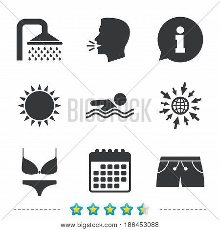 Swimming pool icons. Shower water drops and swimwear symbols. Human swims in sea waves sign. Trunks and women underwear. Information, go to web and calendar icons. Sun and loud speak symbol. Vector