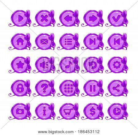 Beautiful violet round buttons with options symbols. Vector icons for web or game design. Isolated on white.