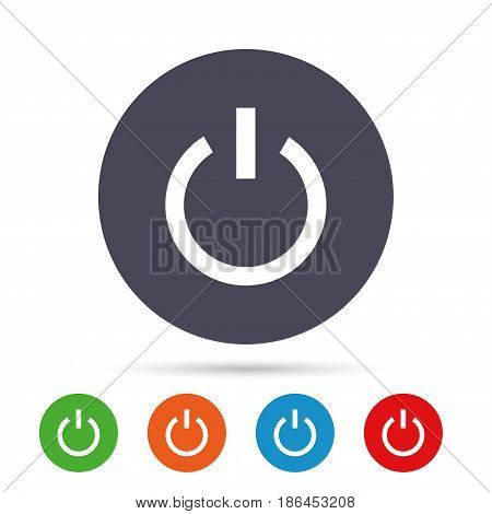 Power sign icon. Switch on symbol. Turn on energy. Round colourful buttons with flat icons. Vector