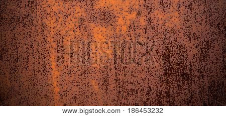 Grunge Abstract old rusty metal Texture. Aged corrosion Background. Brown Dirty Metallic Surface Close up. Wide screen Horizontal Image Copy Space.