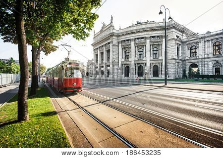 Beautiful View Of Famous Wiener Ringstrasse With Historic Burgtheater (imperial Court Theatre) And T