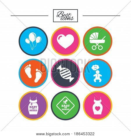 Pregnancy, maternity and baby care icons. Newborn, strollers and pacifier signs. Footprint, candy and love symbols. Classic simple flat icons. Vector