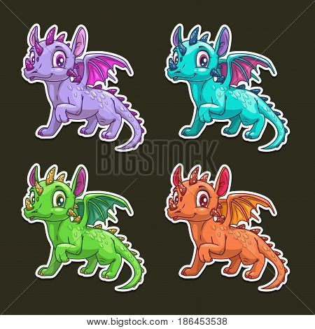 Funny cartoon dragon. Vector colorful stickers on dark background.