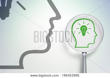 Studying concept: magnifying optical glass with Head With Lightbulb icon on digital background, empty copyspace for card, text, advertising, 3D rendering