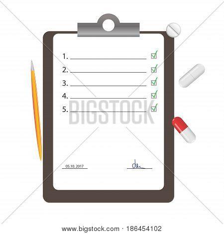 Medical checklist vector illustration. Medical clipboard. Pills vector
