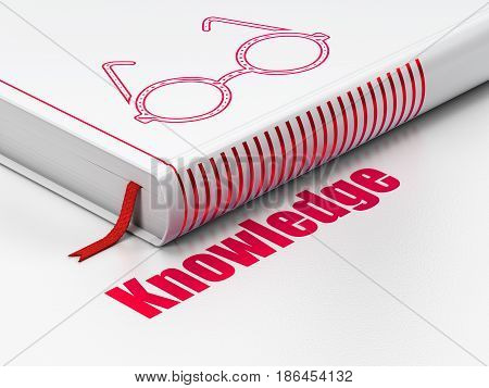Learning concept: closed book with Red Glasses icon and text Knowledge on floor, white background, 3D rendering