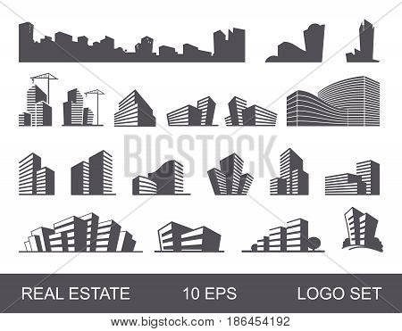 Real Estate Logo Set .Creative House Logo Collection . Abstract Buildings Logo Set