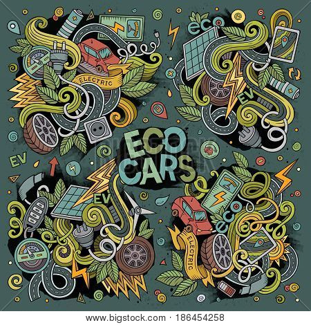 Colorful vector hand drawn doodle cartoon set of Electric cars objects and symbol