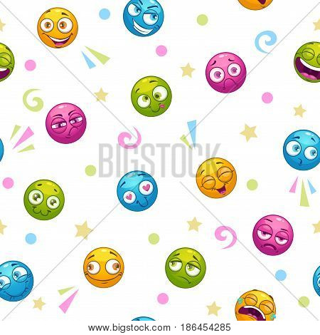 Seamless pattern with cute cartoon colorful round faces. Vector texture tile.