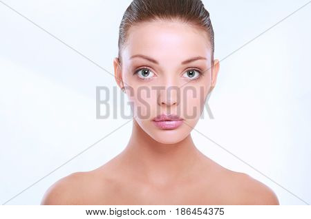 Portrait of beautiful woman , isolated on white background.